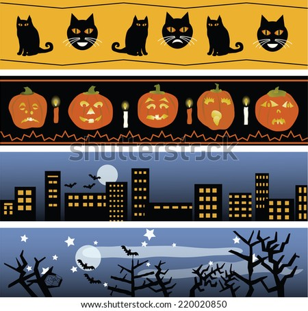 Four original Halloween banners, for use in invitations, cards, web sites, etc./Four Halloween Banners - stock vector