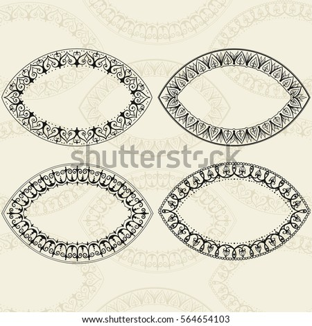 Four oval frames in east style. Can be used for the congratulations cards, mirrors framing, printing on clothing, frames for photo or other. Vector hearts.