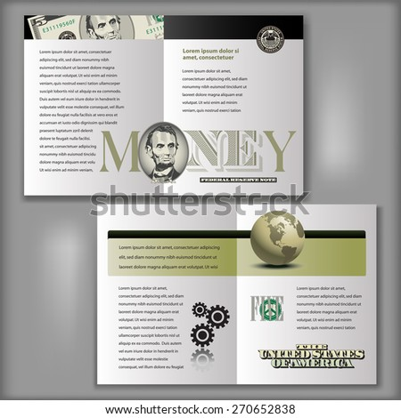 Four Page Brochure Layout Template with Money Elements - stock vector