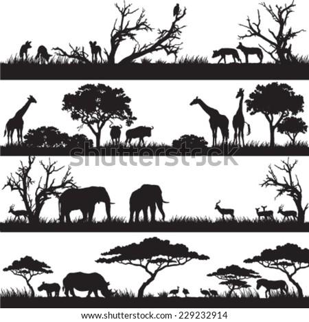 Four panels of african silhouettes with african wild animals in different habitats - stock vector
