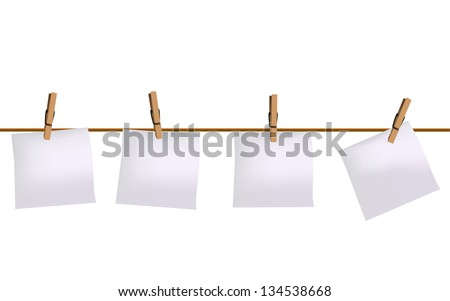 Four paper notes hanging on rope - stock vector