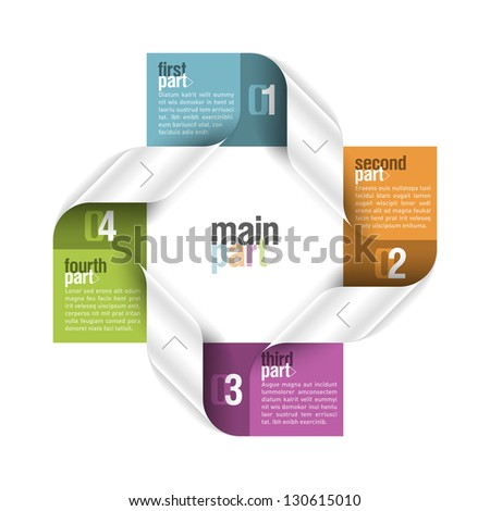 Four parts design element. Fully editable vector. - stock vector