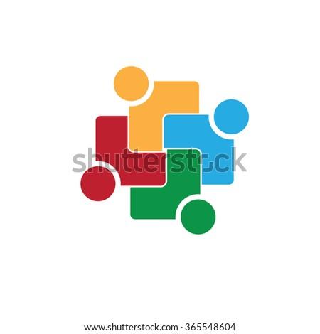 four people icon. people friends logo concept vector icon. this icon also represents friendship, partnership cooperation unity, - stock vector