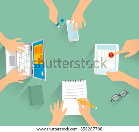 Four person working at the desk. Human hand with computer, tablet, mobile phone, paper. Vector created illustration. Isolated objects.  - stock vector