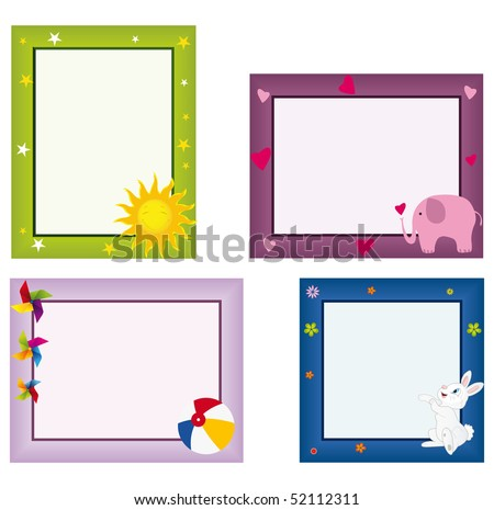 Four photo frames for kids - stock vector