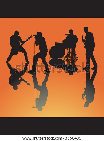 Four piece band silhouette rocking out. Can be ungrouped. - stock vector