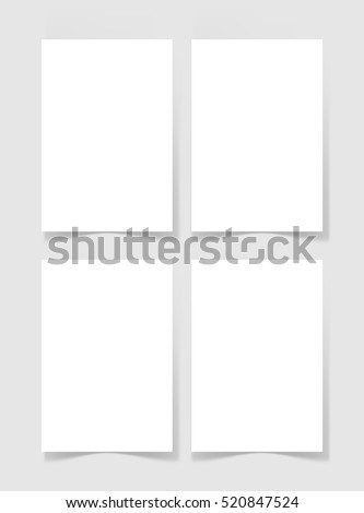 four pieces blank A4 sheet of white paper with the shadow for your design, vector illustration