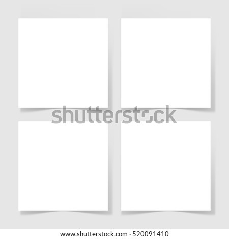 four pieces blank sheet of white paper with the shadow for your design, vector illustration