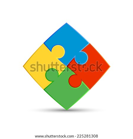 Four pieces of the puzzle are interconnected - stock vector