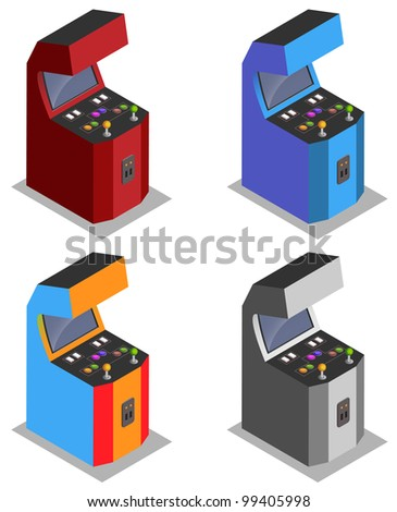 Four player Arcade machine - stock vector