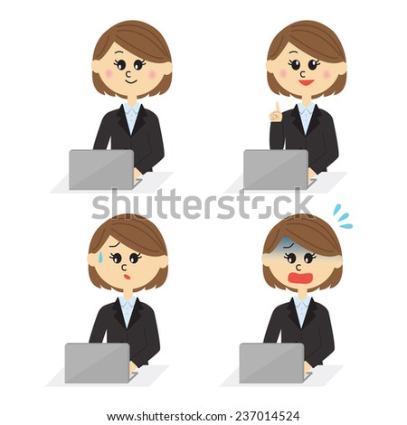 Four pose variations of young female employee with a computer, vector illustration - stock vector