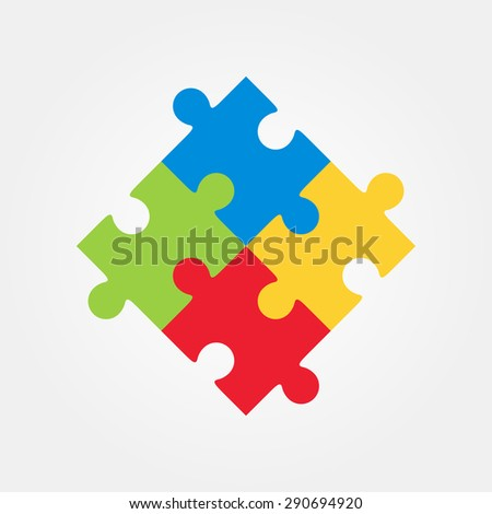 Four puzzle colored pieces vector illustration, isolated on white background. - stock vector