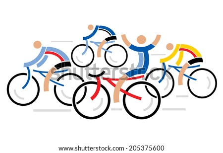 Four racing cyclists Four graphic styled racing cyclists.  Vector illustration.    - stock vector