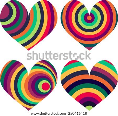 Four rainbow heart set - stock vector