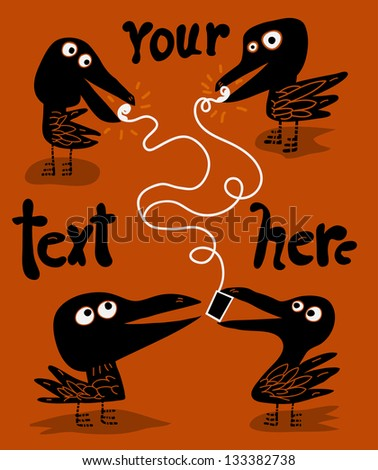 four ravens and a portable music device - stock vector