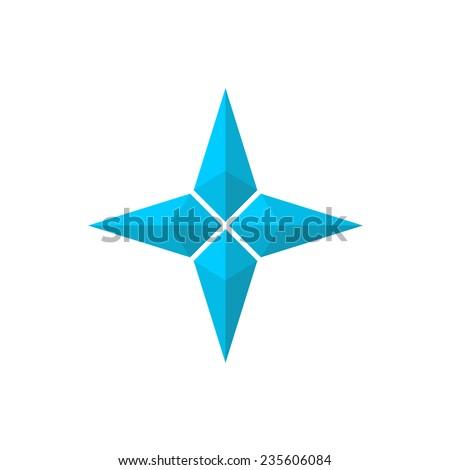 Four rays pseudo 3D star - stock vector