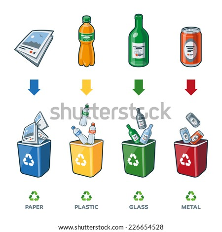 Four recycling bins illustration with paper, plastic, glass and metal separation.  - stock vector