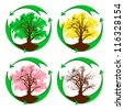 Four  recycling  signs with  oaks  inside. Four seasons.  The concept - environmental protection. Vector. eps 8. - stock vector