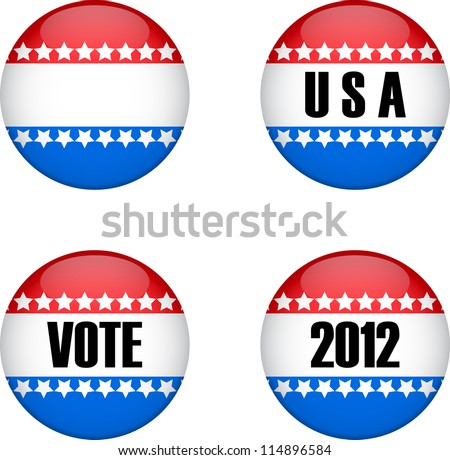 Four red and blue sign for usa vote - stock vector