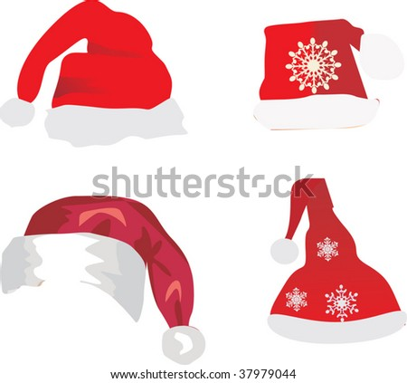 four red christmas caps isolated on white background