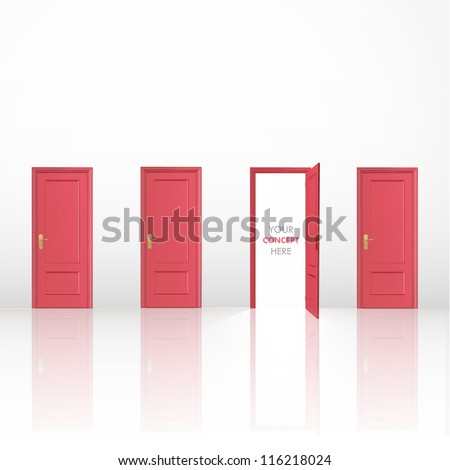 Four red doors, one open and the others closed. Vector design. - stock vector