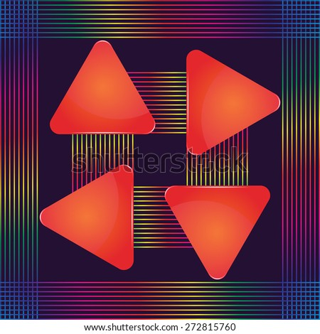 Four red glass triangular text plates with decorative colorful lines - stock vector