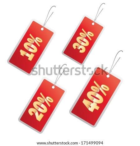 four red icons with different sales in white background