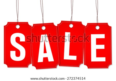 Four red price tags on rope with SALE text - vector illustration - stock vector