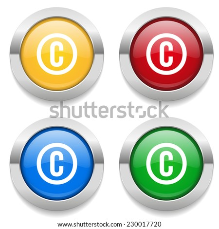 Four round buttons with copyright icon and metallic border