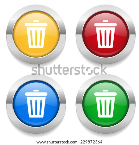 Four round buttons with trash icon and metallic border - stock vector
