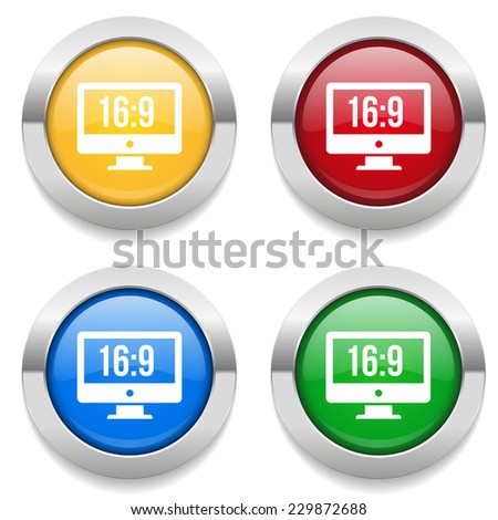 Four round buttons with wide-screen icon and metallic border - stock vector