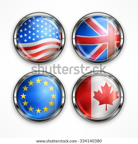 Four round icons with different country flags on white, vector illustration - stock vector