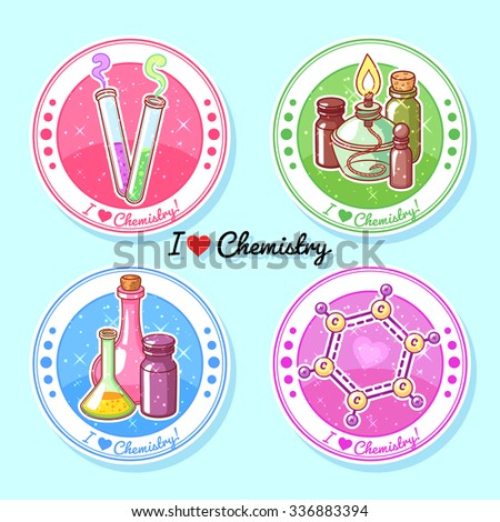 """Four round stickers """"I love chemistry"""". Vector clip-art illustration. - stock vector"""