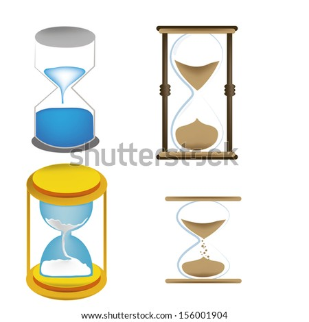 four sand clocks with different styles and colors in white background