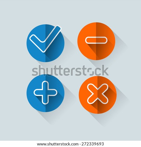 Four satined smooth validation stickers with drop gray shadow on white
