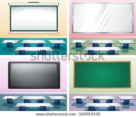 Four scenes of classrooms illustration - stock vector