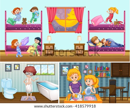Four scenes of people in the house illustration
