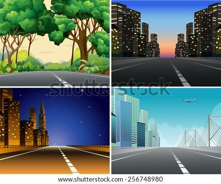 Four scenes of roads - stock vector