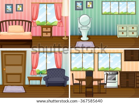 Four scenes of rooms in the house illustration - stock vector