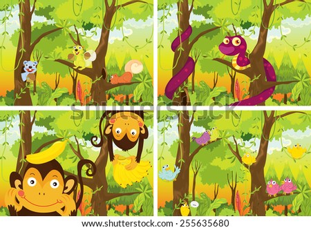 four scenes of the jungle - stock vector