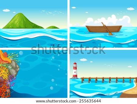 four scenes of the ocean - stock vector