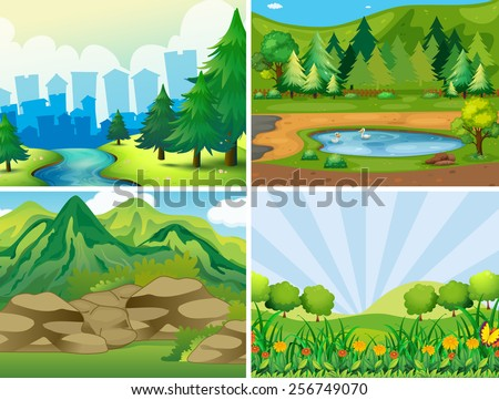 Four scenes of the park - stock vector