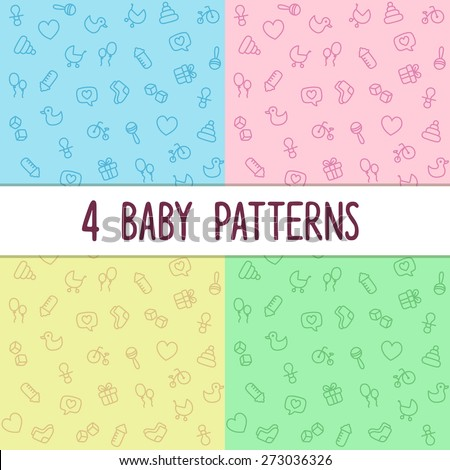 Four Seamless Baby Themed Background Textures Boy Blue Girl Pink And Two Gender Neutral
