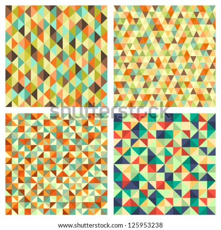 Four seamless geometric patterns. Seamless vector textures for your design. - stock vector
