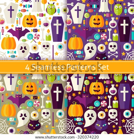 Four Seamless Halloween Party Patterns Set. Flat Style Vector Seamless Texture Backgrounds. Collection of Halloween Holiday Templates. Trick or Treat - stock vector