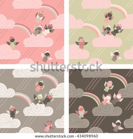 Four seamless pattern with birds, clouds, rain and rainbow - stock vector