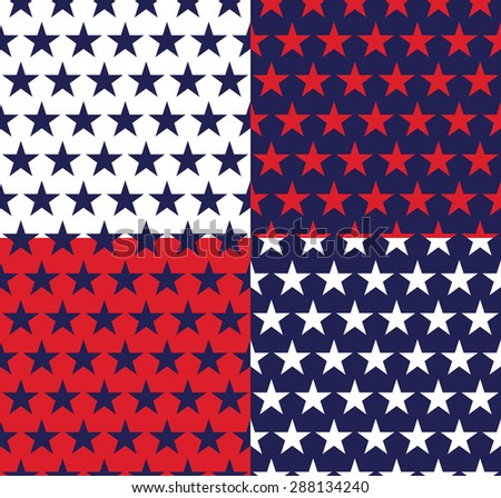 Four seamless pattern with stars in American flag colors