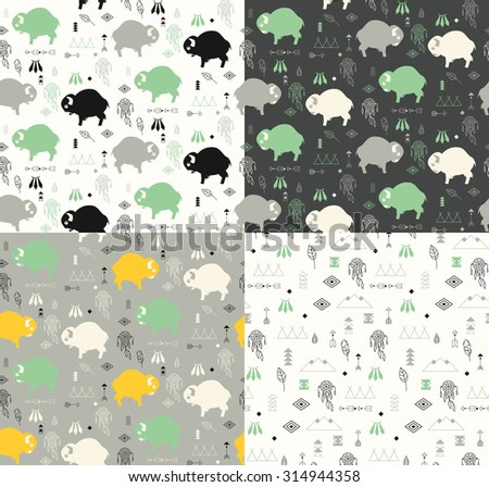 Four seamless patterns with native American symbols, cute baby buffaloes and dream catchers, vector illustration - stock vector