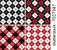 """Four seamless 6"""" repeating vector argyle patterns in black, red and white. - stock vector"""