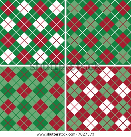 "Four seamless 6"" repeating vector argyle patterns in holiday red and green. - stock vector"